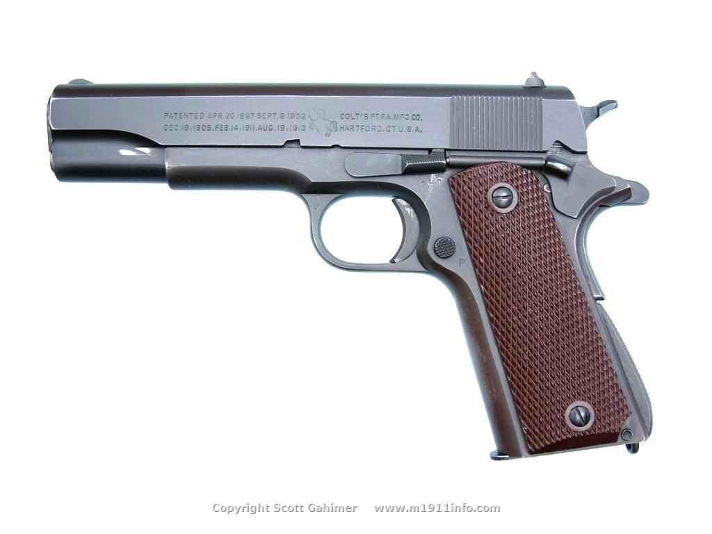 1943 Colt M1911A1 anomaly lacking left-side finger clearance cutout.