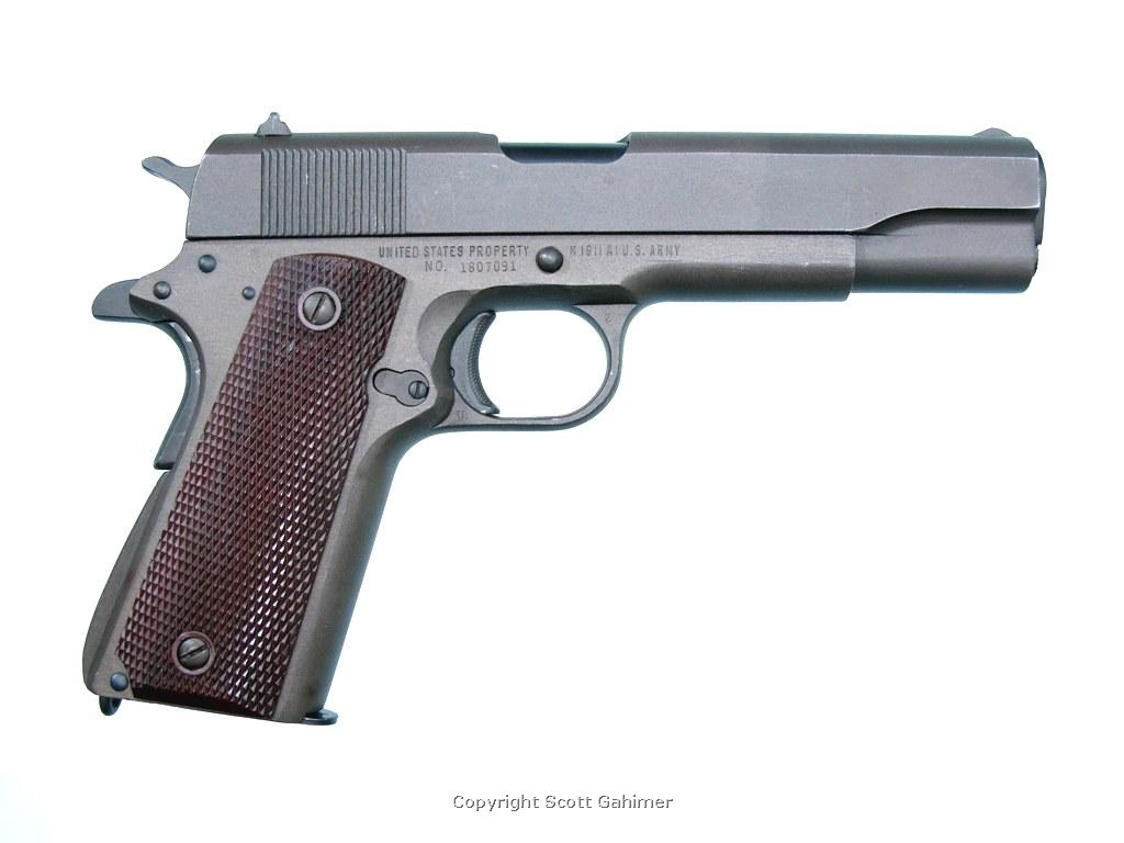 1944 Parkerized Remington Rand M1911A1 pistol.